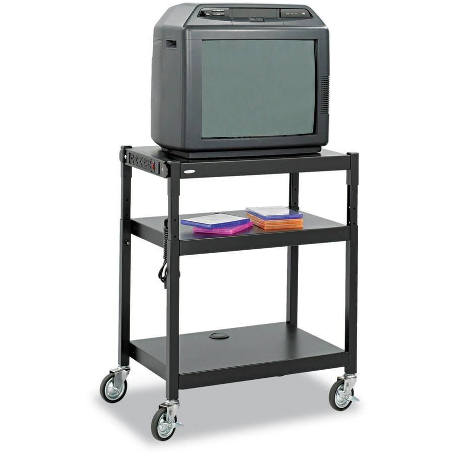 "Safco Adjustable-Height Steel AV Cart, 27-1/4"" x 18-1/4"" x 28.5-36.5"", Black"