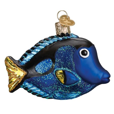 Old World Christmas Pacific Blue Tang Tropical Fish Holiday Ornament Blown (Blown Glass Holiday Ornament)