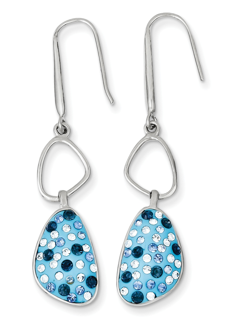 Sterling Silver with Blue Preciosa Crystal Dangle Earrings QE9659