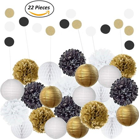 Amazing 22pcs Mixed Black Gold White Party Decorations By Epique Occasions Set Of Hanging