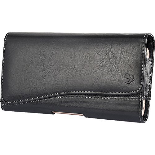 Black2 Horizontal Belt Clip Leather Pouch Case for LG Realm Exceed 2 Ultimate 2