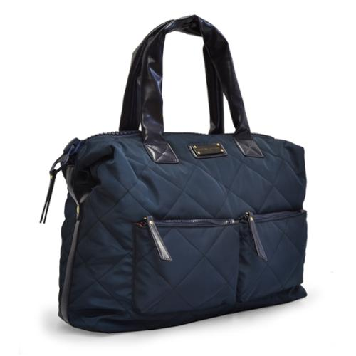 Adrienne Vittadini Medium Quilted Nylon Duffle Navy