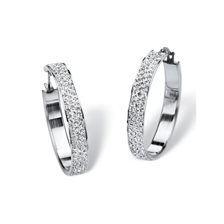 Pave Birthstone Hoop Earrings in Stainless Steel (1 1/2