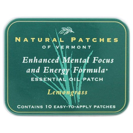 Natural Patches Of Vermont Essential Oil Patches Lemongrass Enhanced Mental Focus   Energy Formula 10 Count Tins