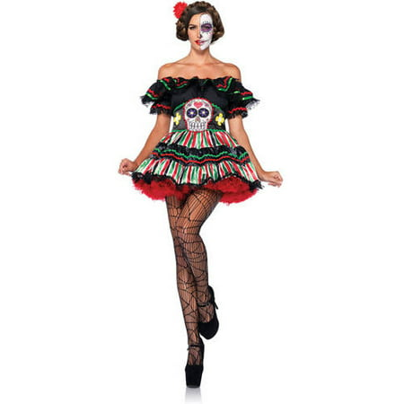 Leg Avenue Day Of The Dead Doll Adult Halloween Costume (Halloween Dead Fairy Makeup)