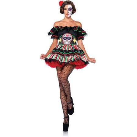 Leg Avenue Day Of The Dead Doll Adult Halloween Costume (Walking Dead Halloween Costumes)