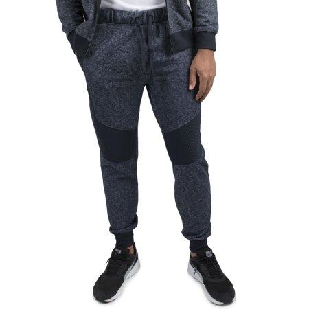 Vibes Gold Label Men's Navy Blue Marled Yarn Fleece Moto Jogger ... : mens quilted pants - Adamdwight.com