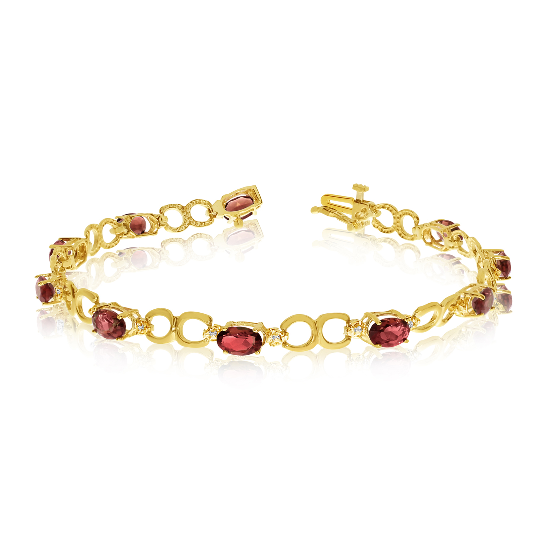 10K Yellow Gold Oval Garnet and Diamond Bracelet by LCD