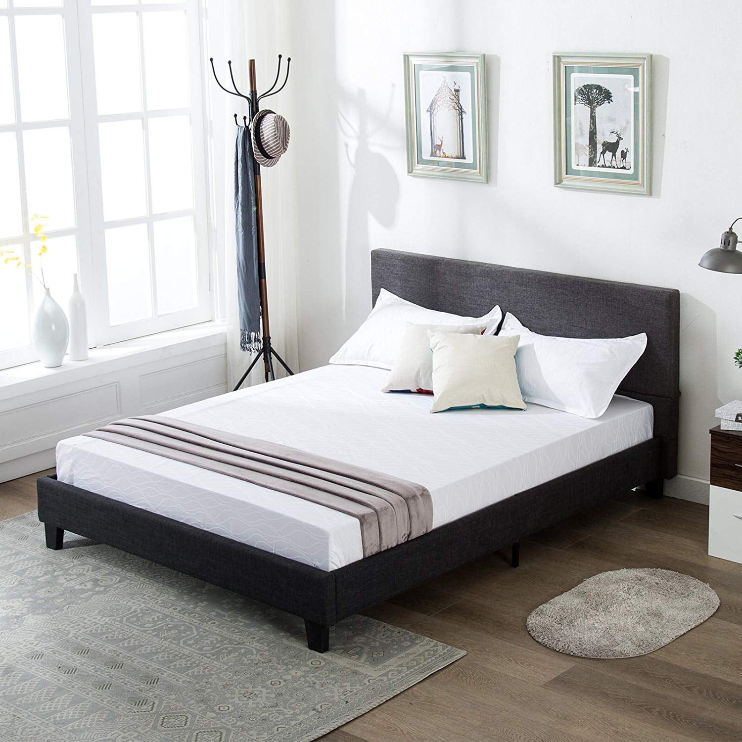 Mecor Upholstered Linen Platform Bed Frame With Wooden