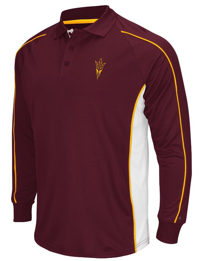 "Arizona State Sun Devils NCAA Men's ""Overtime"" Long Sleeve Polo Shirt by Colosseum"