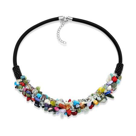 Fashion Statement Wide Cluster Multi Color Gemstone Chips Collar Necklace For Women Teen Faux Leather Cord -
