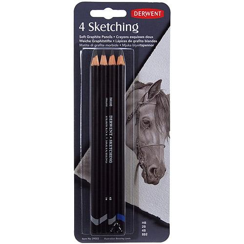 Derwent Sketch Pencils, HB, 2B, 4B, 8B, 4/pkg