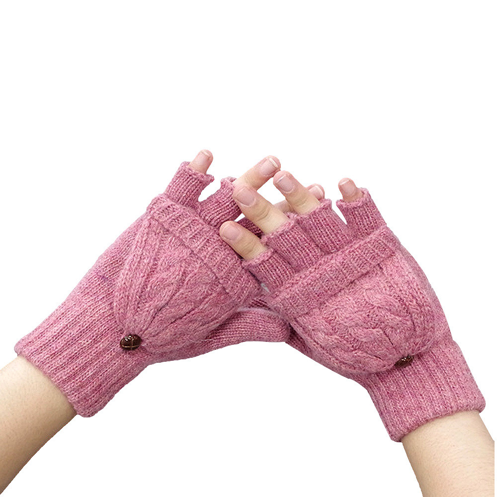 Women Warmer Winter Fingerless Gloves Pink