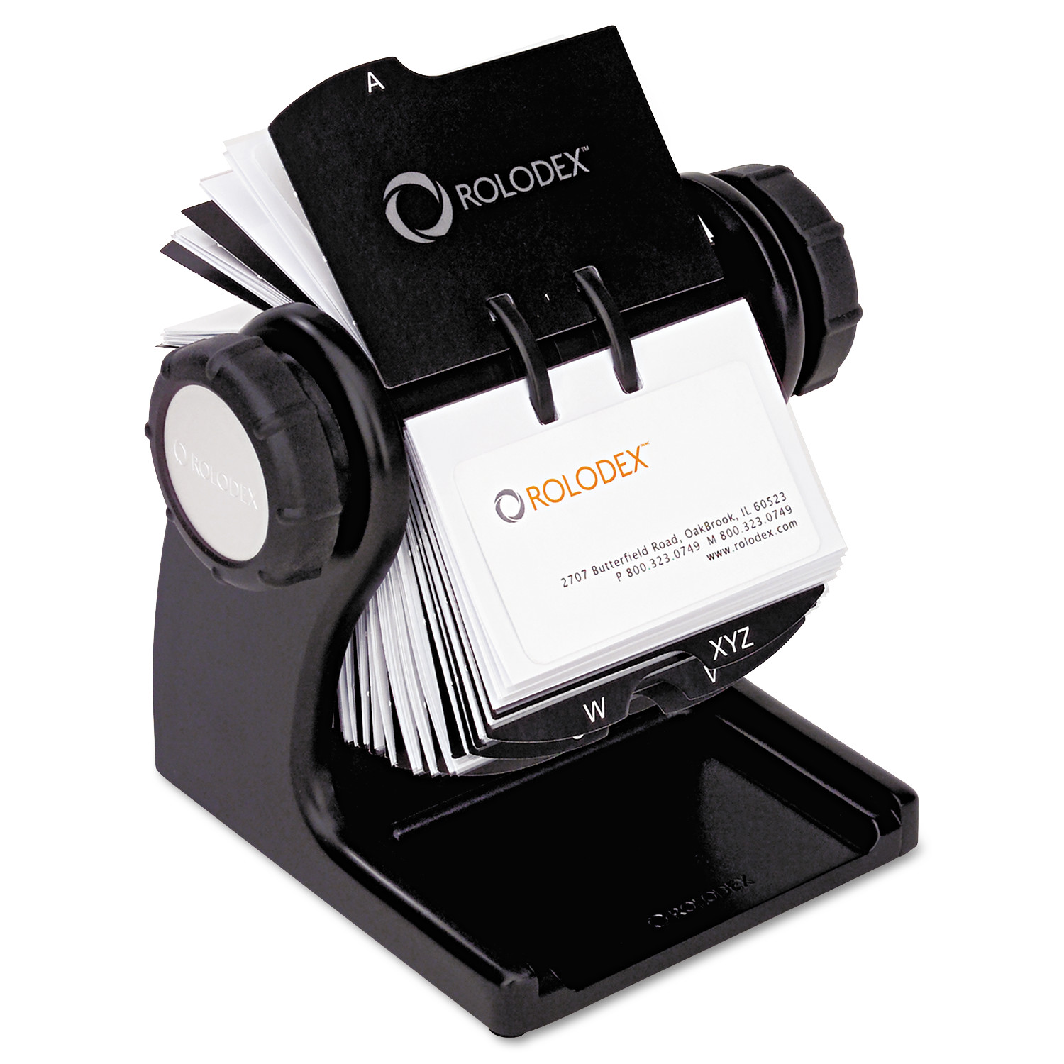 Rolodex Wood Tones Open Rotary Business Card File Holds 400 2 5/8 x 4 Cards, Black -ROL1734238