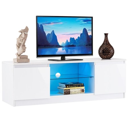 - Costway High Gloss TV Stand Unit Cabinet Media Console Furniture w/ LED Shelves White
