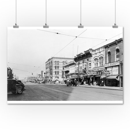 Yakima Washington Town View Stores Photograph 36x54 Giclee Gallery Print Wall Decor Travel