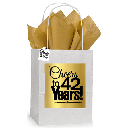42nd Cheers Birthday / Anniversary White and Gold Themed Small Party Favor Gift Bags Stickers Tags -12pack - Good Party Themes