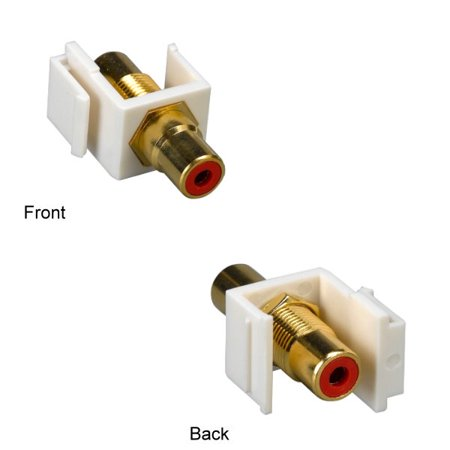 Rca Red Insert (Kentek RCA Keystone Insert Feedthrough Type Gold Plated Connector Video Audio Jack Red)