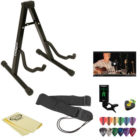 ChromaCast Acoustic Guitar Accessory Pack with Guitar Stand, Nylon Strap, Clip-On Tuner, Picks, Pick Holder and Polish