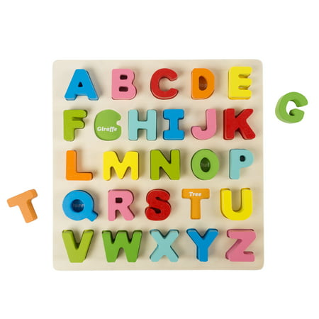 Wooden Alphabet Puzzle Board with Colorful Wood Letters- Educational Toy by Hey! Play!