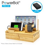 """PowerBot PB5100 40Watt 8Amp 5 USB Port Rapid Charger Universal Desktop Charging Station w/ Bamboo Finish, Multi Device Charging Dock, Organizer Stand for Tablets, Apple Watch, Smartphones up to 5.7"""""""