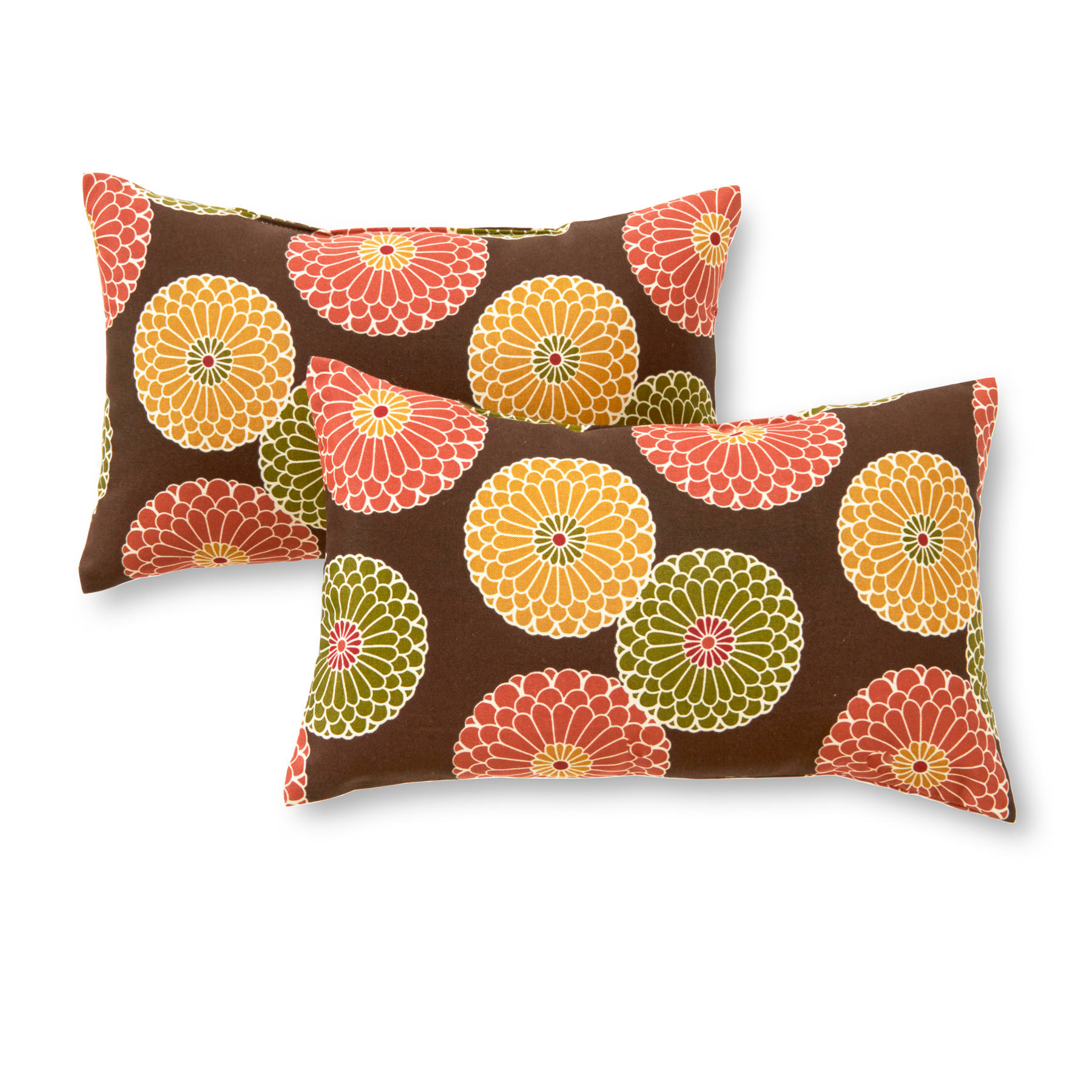 Greendale Home Fashions Flowers on Chocolate Rectangle Outdoor Accent Pillow, Set of 2