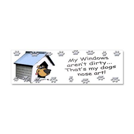 CafePress - Funny Dog Nose Art - Car Magnet 10 x 3