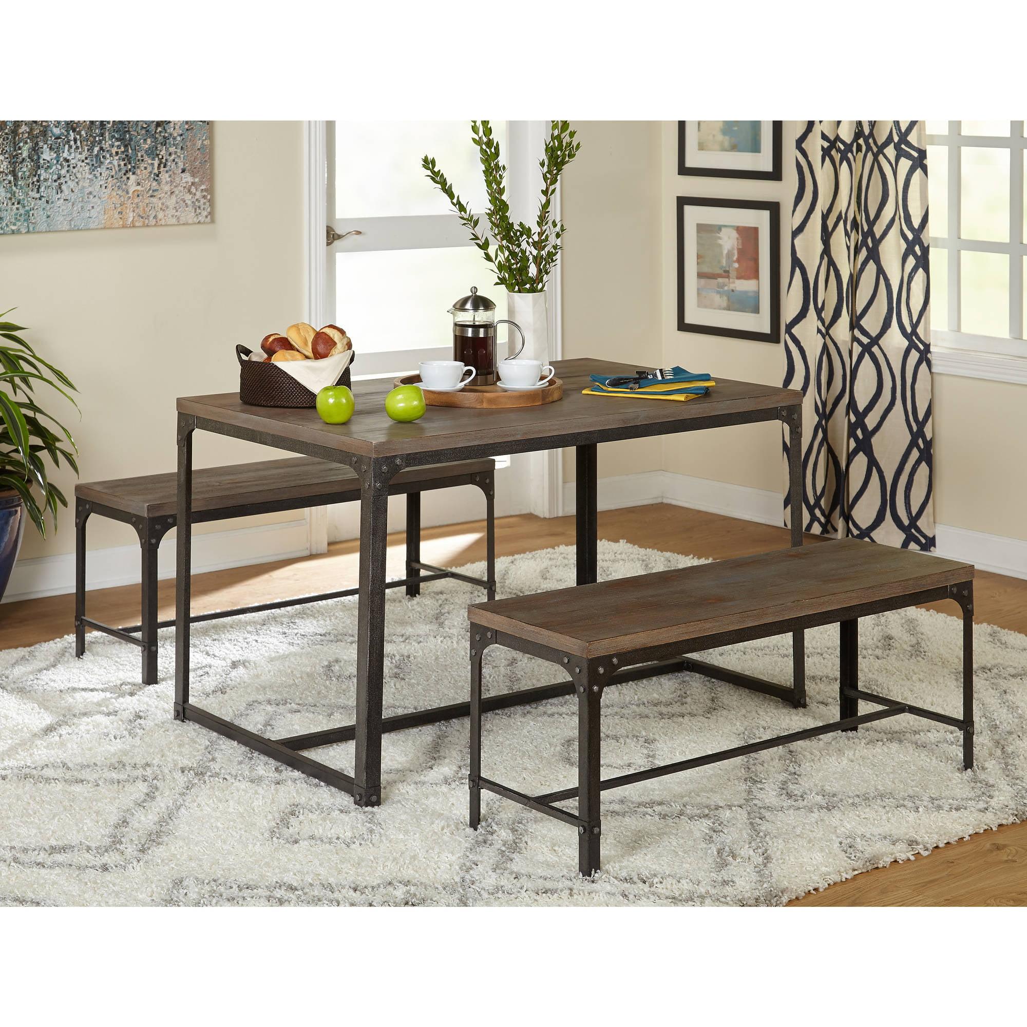 Scholar 3 Piece Table And Bench Set Gray Walmart Com