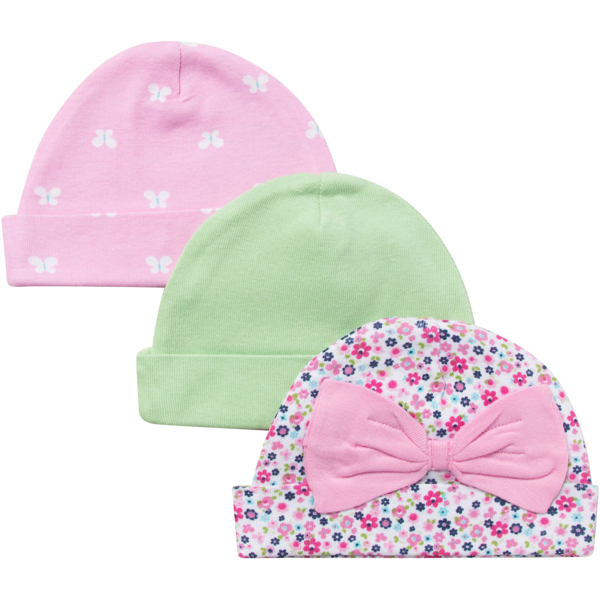 Gerber Newborn Baby Girl Butterfly Caps - 3 Pack