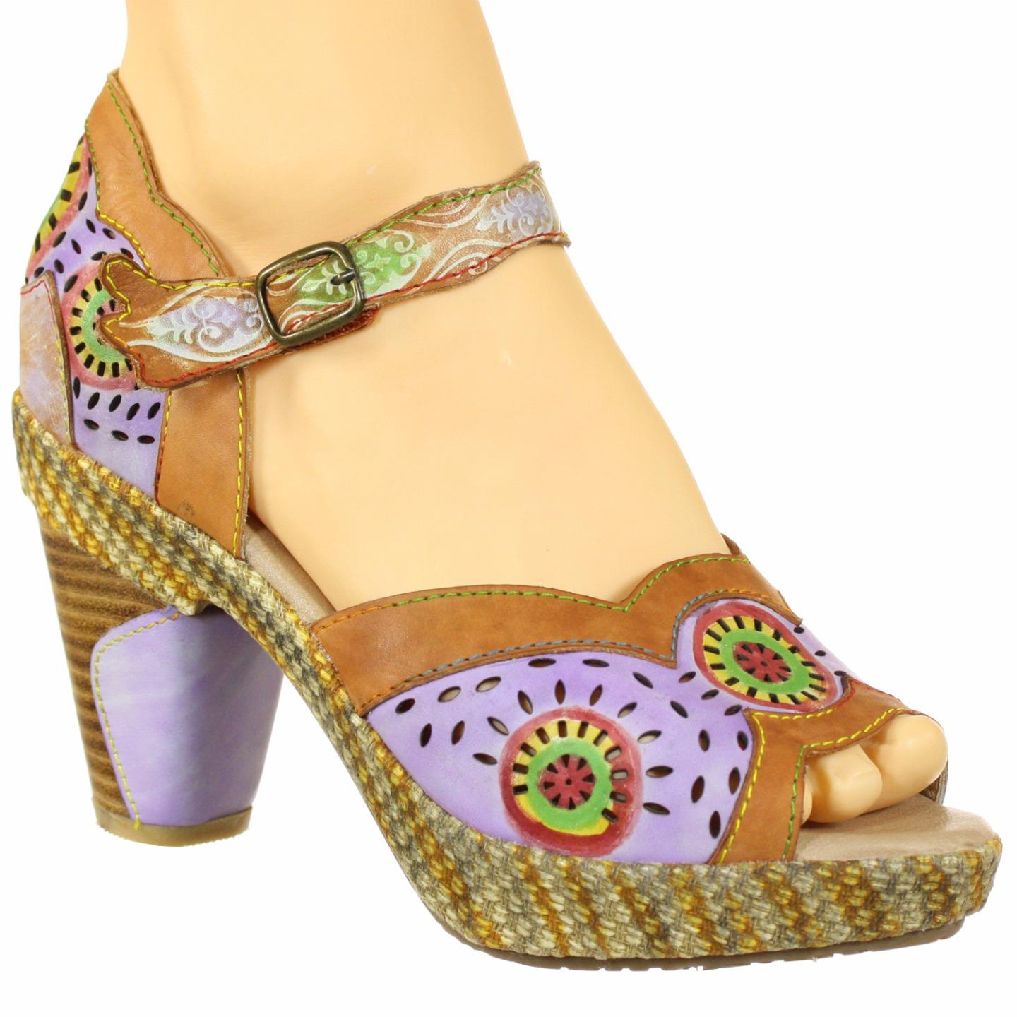 Bravada Spring Step L'Artiste Collection Women's Sandals Camel Multi EU 37 US 7 by Spring Step