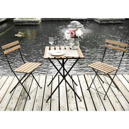 Merax 3 Piece Folding Bistro Set Outdoor Table Chairs Patio Garden Furniture