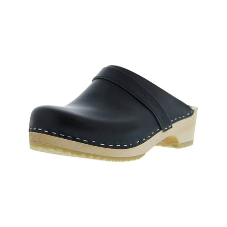Swedish Hasbeens Women's Husband Black / Nature Sole Leather Clogs -