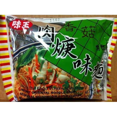 Portobello Mushroom Pasta (Ve Wong Instant Noodle Mushroom Pork 3.17-Ounce Packages (1 Small Bag) + one nineChef Spoon )