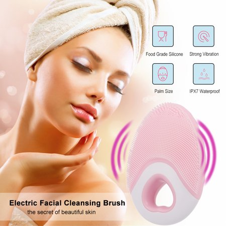 Electric Face Brush Facial Cleansing Brush Face Washing Device Facial Cleaner & Massager Brush Silicone Wireless - image 3 of 7