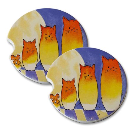 KuzmarK Sandstone Car Drink Coaster (set of 2) - Candy Corn Kitties and Mouse Cat Art by Denise Every - Candy Corn Art