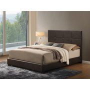 global furniture usa king checkerboard pattern upholstered bed brown gloss