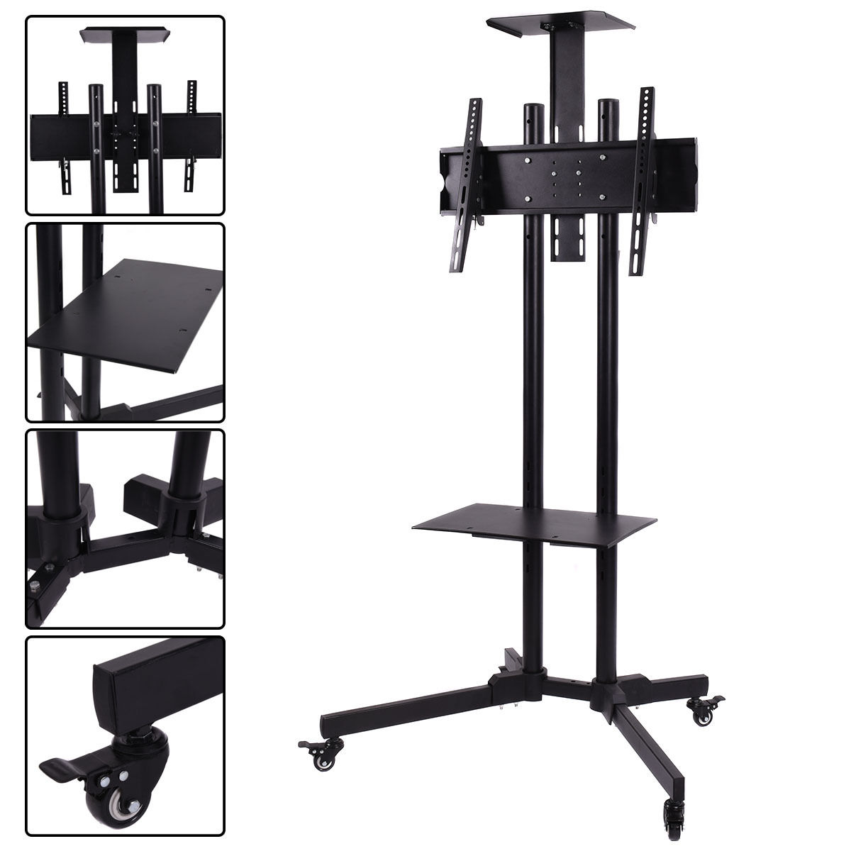 Costway TV Cart Stand Plasma LCD LED Flat Screen Panel w/ Wheels Mobile Fits 32''to 55'''