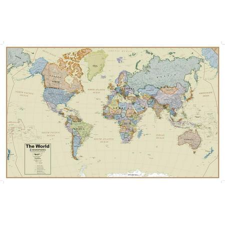 Hemispheres Boardroom Series World Wall Map, Educational Poster Giant ()