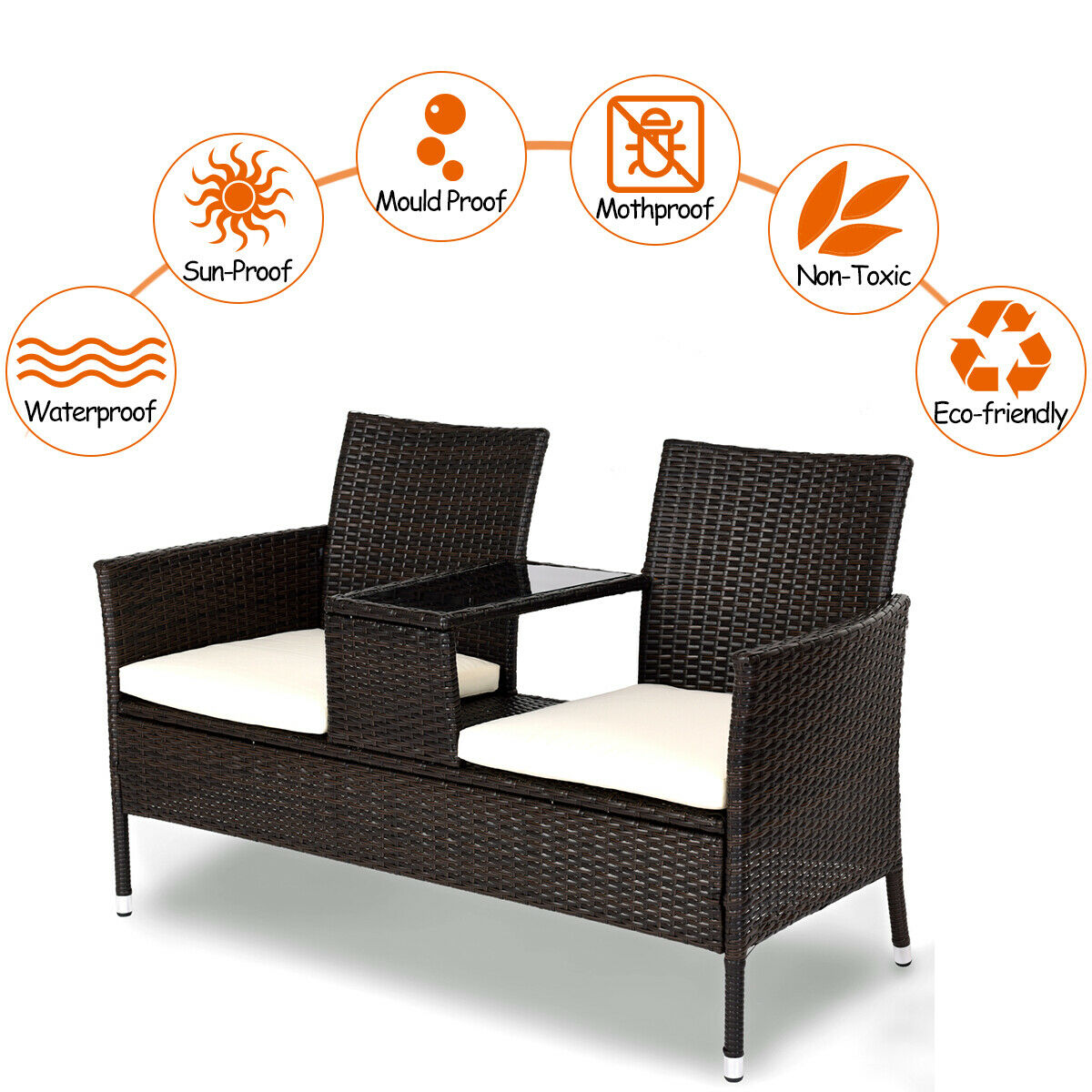 Costway Patio Rattan Chat Set Seat Sofa Loveseat Table Chairs w/ Cushion - image 6 de 9