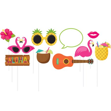 Luau Photo Booth Props, 10 pk