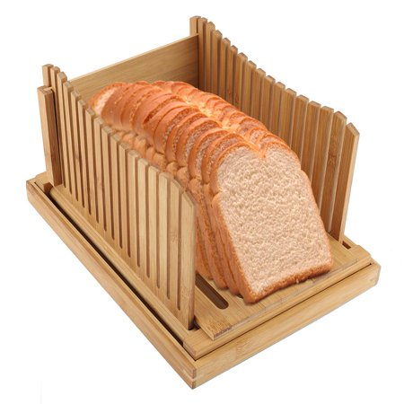 Qiilu Foldable Bamboo Bread Slicer Guide with Crumb Catching Tray, Bamboo Bread Slicer Guide,Bread Slicer Guide - image 2 of 13