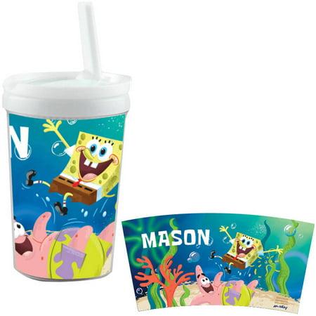 Personalized Spongebob Squarepants Starfish Friends White Sippy (Spongebob Squarepants The Sponge Out Of Water)