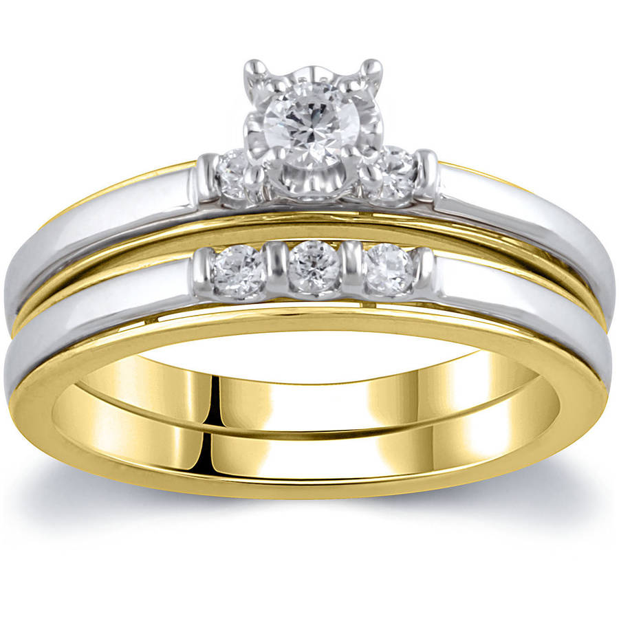 1 4 Carat T.W. Diamond 10kt Yellow and White Gold Bridal Set by ELEGANT COLLECTION