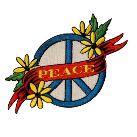Ncaa Applique Banner (Peace Sign Banner Patch Daisies Hippie Unity Embroidered Iron On Applique )