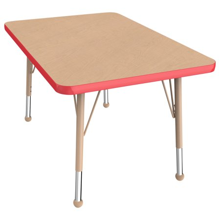 ECR4Kids 24in x 36in Rectangle Everyday T-Mold Adjustable Activity Table Maple/Red/Sand - Toddler Ball