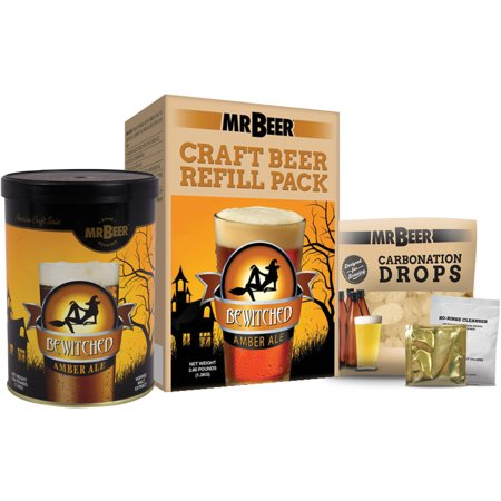 Mr. Beer Bewitched Amber Ale Craft Beer Refill Kit, Contains Hopped Malt Extract Designed for Consistent, Simple and Efficient - Beer Pong Kit