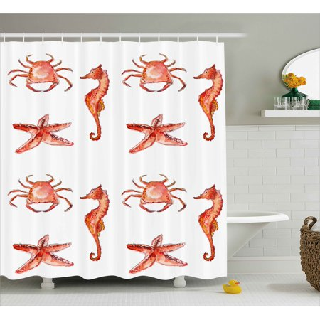 Nautical Shower Curtain, Crab Seahorse Starfish Hand Drawn Underwater Sea Creatures Ocean Image, Fabric Bathroom Set with Hooks, Salmon Dark Coral, by Ambesonne for $<!---->