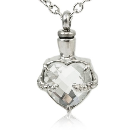 stainless steel cremation necklace -  1 pounds -  silver crystal heart - engraving sold separately