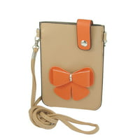 Unique Bargains Unique Bargains Khaki Orange Bowknot Faux Leather 2 Compartments Mobile Phone Pouch Bag Pocket