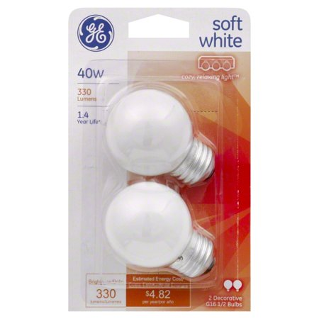 GE 40 watt Soft White G16.5 Incandescent Globe, 2 Pack